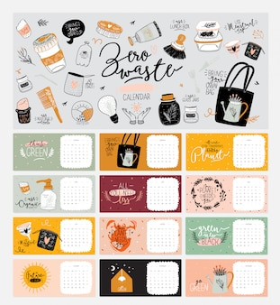 Leuke zero waste-kalender. jaarlijkse planner kalender met alle maanden. goede organisator en schema. heldere kleurrijke illustratie met motiverende citaten. achtergrond