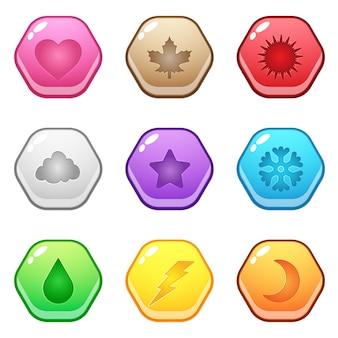 Leuke zeshoekige vormknop vertegenwoordigt verschillende seizoensymbolen.