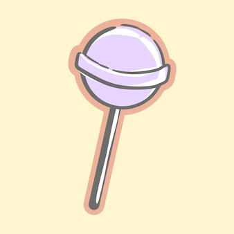 Leuke zoete paarse lolly snoep voor dessert cartoon vectorillustraties