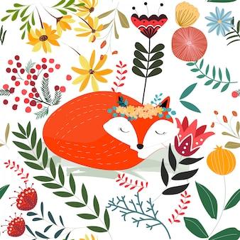 Leuke zoete vos in bloem en laat cartoon naadloze patroon