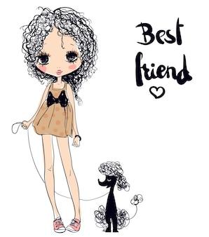 Leuke zomer jonge cartoon meisje met poedel