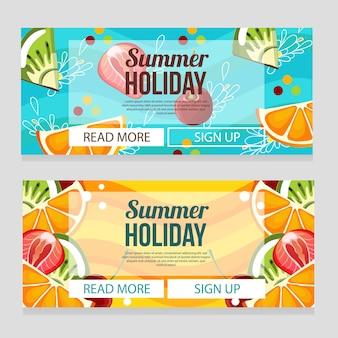 Leuke zomer vakantie banner met fruit thema illustratie