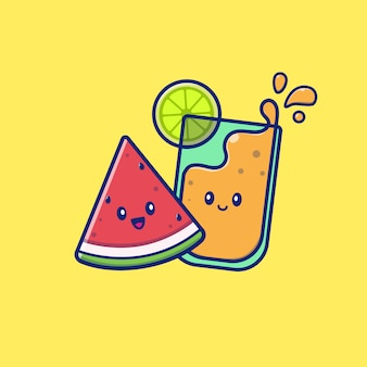 Leuke zomer watermeloen en jus d'orange pictogram illustratie. zomer pictogram concept geïsoleerd. flat cartoon stijl