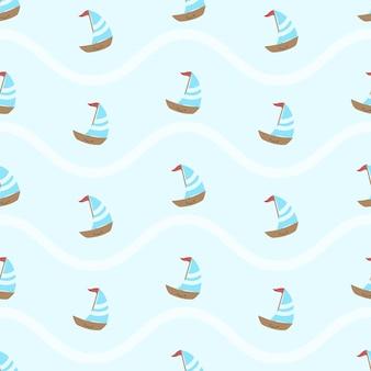 Leuke zomerse sfeer zeilboot naadloze patroon