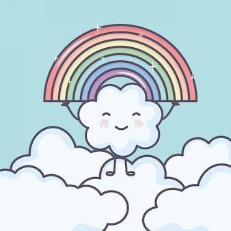 Leuke zomerzon en wolken met regenboog kawaii karakters