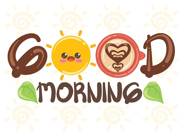 Leuke zon en koffiekopje goedemorgen concept. stripfiguur en illustratie. Premium Vector