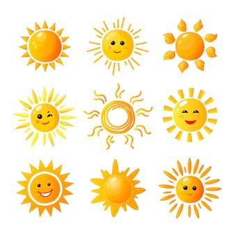 Leuke zon. hand getrokken zonneschijn. zomerochtend zonsopgang. doodle opwarming vreugde pictogrammen