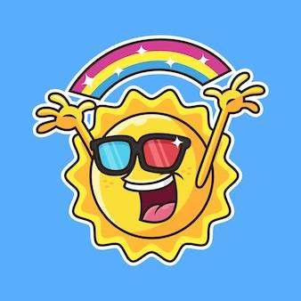Leuke zon met regenboog cartoon.