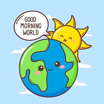 Leuke zon zeg goedemorgen tegen schattige aarde
