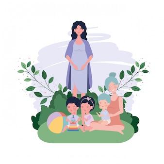 Leuke zwangerschapsmoeders zaten in het kamp baby's op te tillen