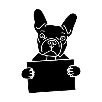 Leuke zwarte franse bulldog houdt een leeg bord met plaats voor uw tekst. silhouet van hond geïsoleerd op een witte achtergrond. eenvoudige vectorillustratie.