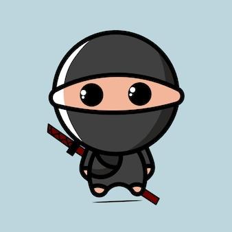 Leuke zwarte ninja karakter kawaii illustratie