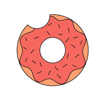 Leuke zwemring donutvormige rubberen zwemring in doodle-stijl een helder zomeraccessoire