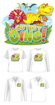Leukste dino-lettertype en dinosaurus-stripfiguurlogo met verschillende soorten shirts