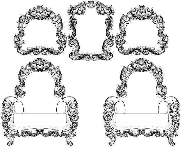 Leunstoel en uitstekende kaders geplaatst inzamelingsvector. barok meubilair en accessoires. grafische lijntekeningen