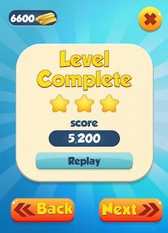 Level complete scène met sterren en score