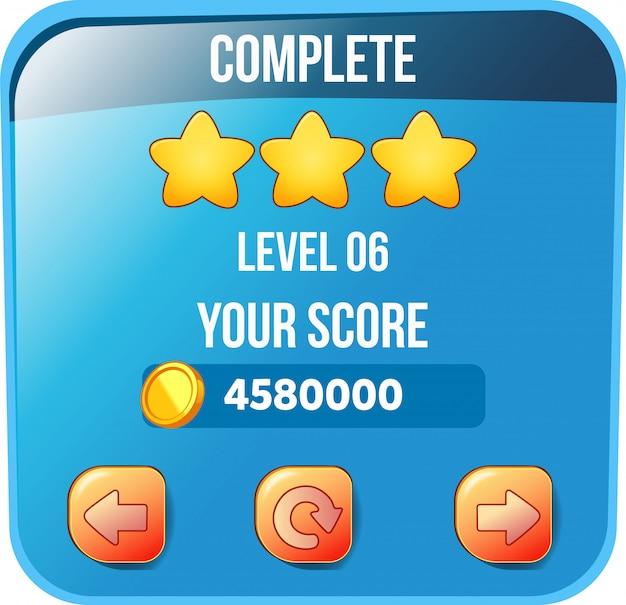 Level complete scorebox met munten en sterren