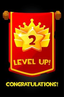 Level-up beloning op vlag cartoon gouden pictogram