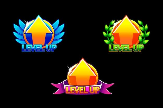 Level up-pictogram, spelpictogrammen. grafische gebruikersinterface gui om 2d-spellen te bouwen. casual spel. kan gebruikt worden in mobiel of webspel.