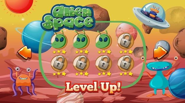 Level-up schermspel met alien- en ufo-themasjabloon