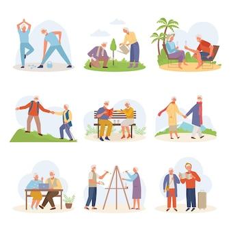 Leven actieve oude mensen. oudere man vrouw tekenen reizen ontspannen in het resort