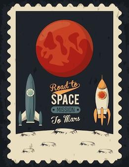 Leven in de ruimteaffiche met mars en raketten