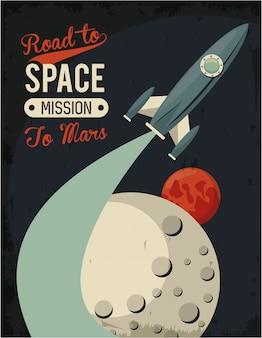 Leven in de ruimteaffiche met raket opstarten