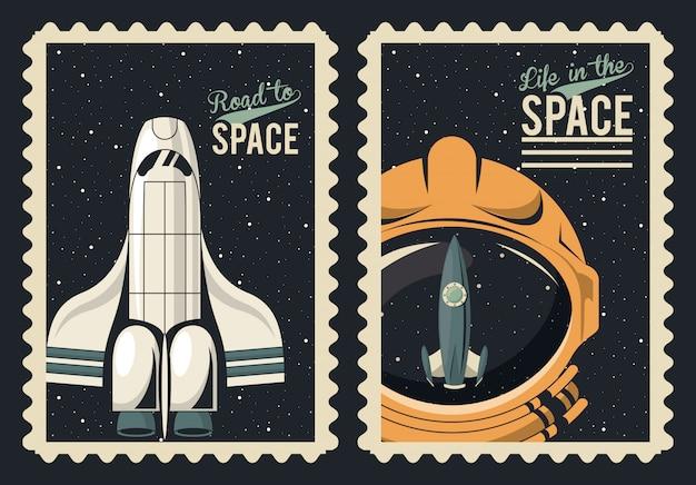 Leven in de ruimteaffiche met ruimteschip