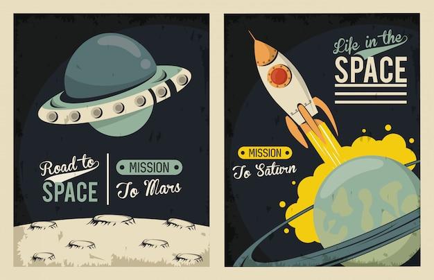 Leven in de ruimteaffiche met ufo vliegen