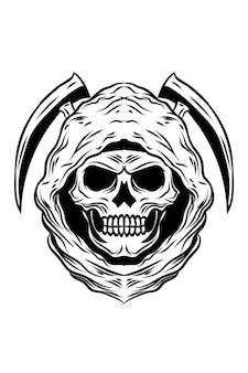 Leven moordenaar schedel vectorillustratie