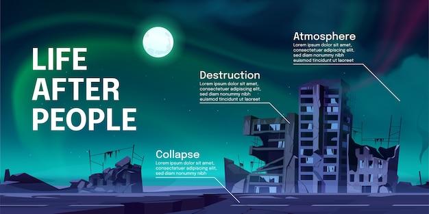 Leven na mensen infographics met verlaten stadsgebouwen 's nachts. vernietiging, oorlog ineenstorting of natuurramp en cataclysm gevolgen, post-apocalyptische wereld ruïneert cartoon vector banner