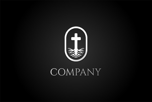 Leven wortel christian jesus cross kerk kapel religie logo ontwerp vector