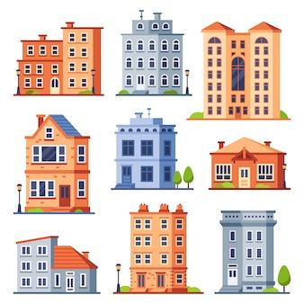 Levende huisgebouwen. cottage huizen exterieur, condominium appartementengebouw en moderne huisjes exterieurs platte set