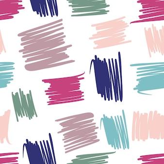 Levendig geometrisch chaotisch lijnen naadloos patroon. abstracte bonte achtergronden uit de vrije hand voor textiel of boekomslagen, behang, design, grafische kunst, inpakwerk