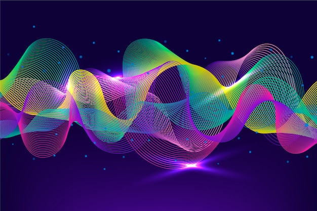 Levendig-kleurrijke equalizer muziek golven achtergrond