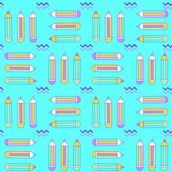 Levendig naadloos patroon met potloden in memphis stijl