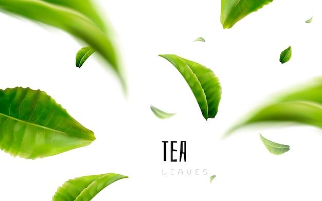 Levendig vliegende groene theeblaadjes witte achtergrond 3d illustratie