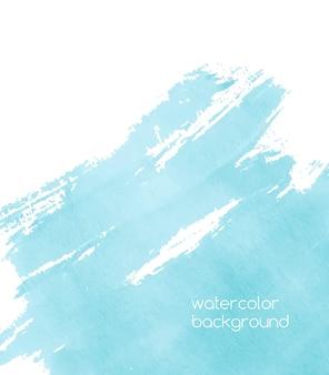 Levendige aquarelachtergrond met verfspoor, expressieve penseelstreken, vlek, vlek of uitstrijkje van azuurblauwe of turquoise blauwe kleur