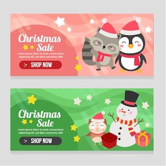 Levendige banner kerst sjabloon ingesteld met sneeuwpop pinguïn en vos
