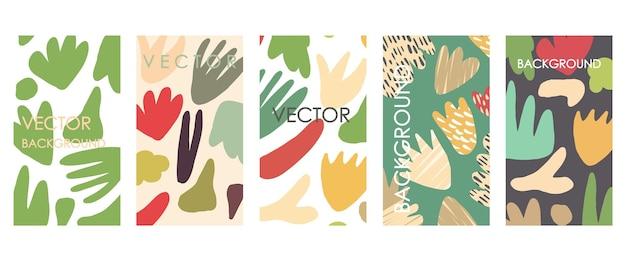 Levendige bloemenuitnodigingen en kaartsjabloonontwerp. abstracte freehand vector set van bonte achtergronden voor banners, posters, omslagontwerpsjablonen