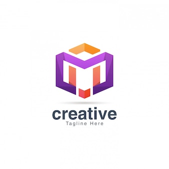 Levendige creatieve letter m logo ontwerpsjabloon