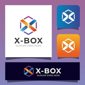 Levendige creatieve letter x gecombineerd met zeshoekig logo in een doos