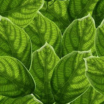 Levendige getextureerde groene bladeren met nerven naadloze patroon.