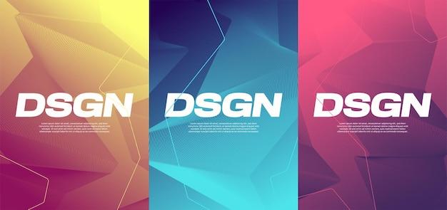Levendige gradiënt abstracte ontwerpen, kleurrijke omslagen