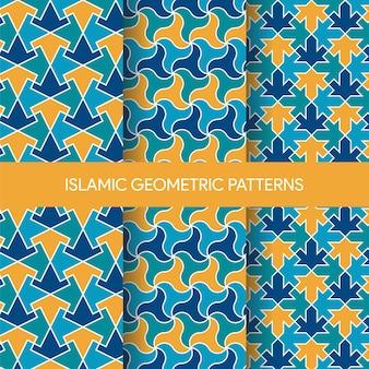 Levendige islamitische naadloze patronen texturen collectie