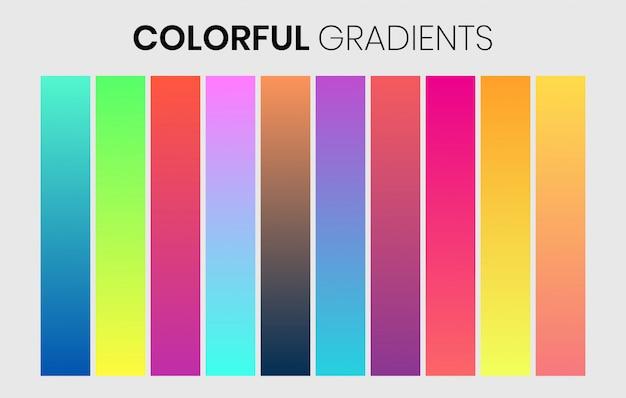 Levendige kleurrijke verlopen stalen instellen premium
