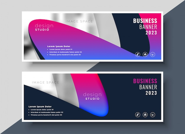 Levendige moderne zakelijke banners met afbeeldingsruimte