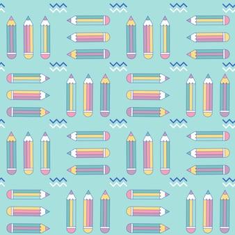 Levendige naadloze patroon met potloden in memphis stijl