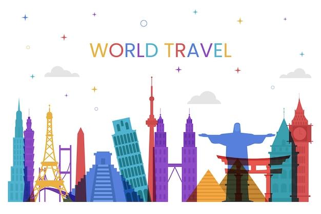 Levendige oriëntatiepunten skyline wereld reizen