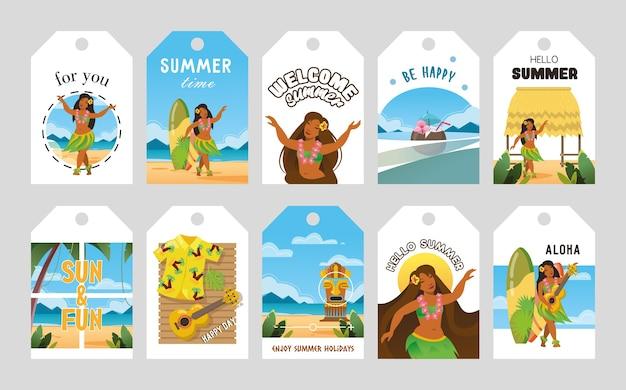 Levendige promo-tags ontwerpen voor hawaii vectorillustratie. hawaiiaanse elementen en tekst. zomer en vakantie concept